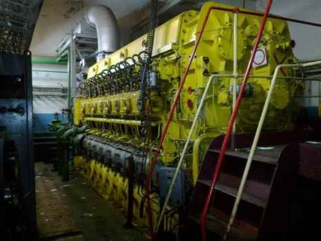 Engines, generators for ships, spare parts for water transport